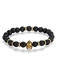 Flongo Men's Women Vintage Knight Helmet Black 8MM Lava Stone Bead Chain Wrist Bracelet, 8.9 inch