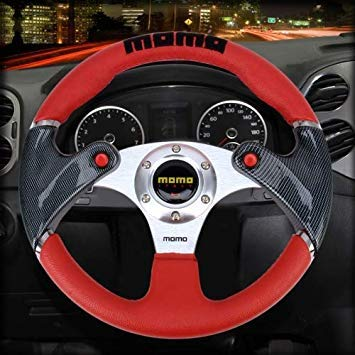 Uniqus Momo Double Buttons Car Modified Racing Sport Horn Button Steering Wheel, Diameter  About 35cm(Red)