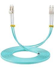 Elfcam - Glasfiberkabel LC/UPC till LC/UPC, OM3, multimode duplex fiberoptisk kabel 50/125um LSZH, 15M