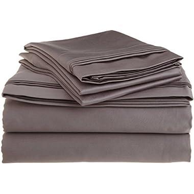 Rajlinen Luxury 600-Thread-Count Sateen Queen Sheet Set, Dark Grey Solid