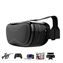 360 Viewing VR BOX 3D Glasses Private Video Cinema HeadsetHDMI USB TF WIFI Bluetooth Android 4.4 HD Virtual Reality +8GB VR Headset Box 3D Glasses 1080P with Remote for TV PC PS4 XBOX Black