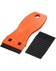 Ehdis Mini kunststof schraper met 10 kunststof messen, plastic schraper, plastic spatel, voor lijmresten verwijderaar, lijmverwijderaar, oranje