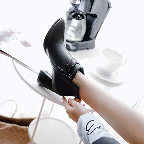 ZHZNVX Damen Stiefelie PU PU Stiefelie Herbst & Winter Britische Stiefel Chunky Heel Spitz Toe Stiefelies Stiefeletten Schnalle Schwarz Beige   Burgund 69521d