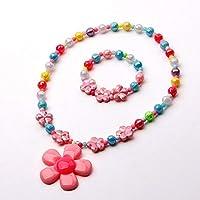 Mondada Kids Toddlers Little Girls Necklace Bracelet Set Stretch Flower Necklaces Party Favor Costume Jewelry (Flower)
