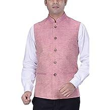 KISAH Men's Woven Cotton Silk Nehru Jacket