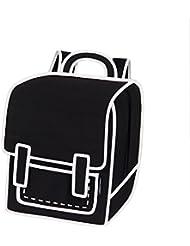 JumpFromPaper Black Graffiti Backpack, Bag for Women, Bag for Men, Laptop, Cartoon, Design, Unique Bag