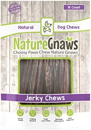 Nature Gnaws Junior Jerky Sticks 5-6 inch - 100% Natural Beef Chews for Small Dogs (15 Count)