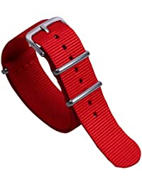 7299b50ff 18mm Red Vigorous High-level Nylon Perlon NATO style Watch Straps Bands  Replacements for Men