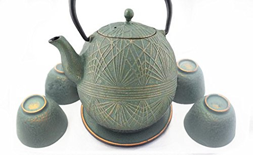 Happy Sales Teal Gold Color Cast Iron Tea set