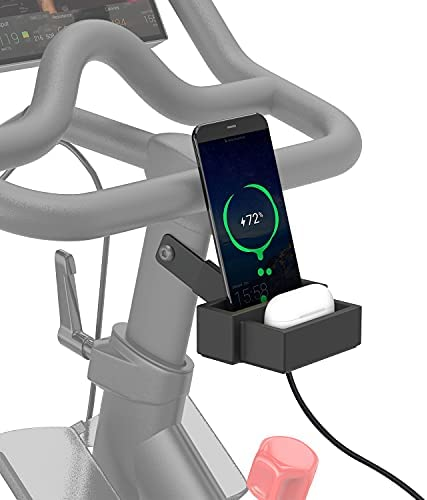 Leweio Phone Holder for Peloton Bike&Bike+ – Scratch-Proof Silicone & Aluminum Phone Mount Bracket Fit Phones and Earbuds- Peloton Bike Phone Accessories