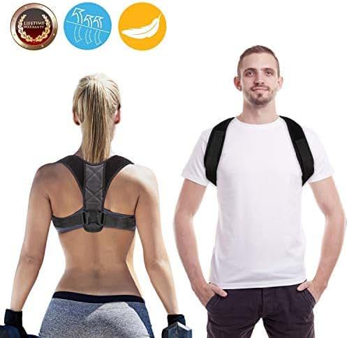 Posture Corrector for Women Men Comfortable Back Posture Corrector Effective Neck Pain Relief (Adjustable Posture Brace Belt) Training Back Muscles to Return Natural Upright, Size 34-42inch