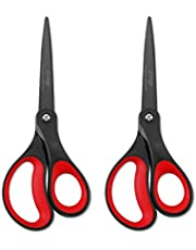 "LIVINGO 2 Pack 8"" Titanium Non-Stick Scissors, Professional Stainless Steel Comfort Soft Grip, All-Purpose, Straight Office Craft Scissors(Red/Black,20.3cm)"
