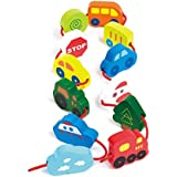 Hape Qubes Lacing Vehicles Toddler Wooden Block Playset