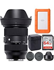 Sigma 24-70mm f/2.8 DG DN Art Zoom Full Frame Sony E-Mount Lens with LaCie Rugged Mini 1TB Hard Drive and 64GB SD Card Bundle (3 Items)