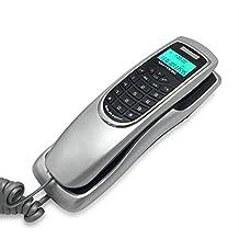 Teléfono Pantalla Verde Identificador de Llamadas Moda extensión pequeña Pared para Colgar,Silver