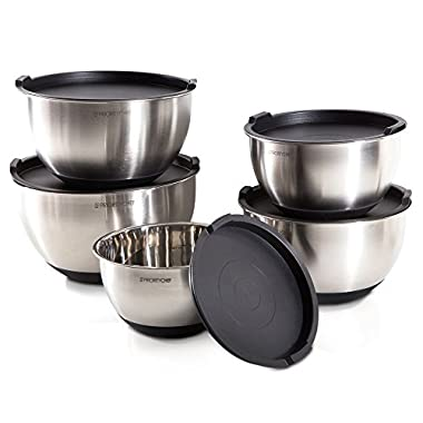 PriorityChef 5 Piece Mixing Bowls With Lids, Large 5 Quart Capacity, Stainless Steel, Non Slip Silicone Bottom, Stackable For Minimal Storage, Black Base