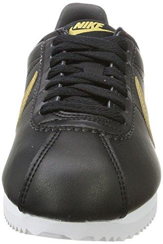 brand new 21667 a8c02 hot sweden nike kvinners klassiske cortez lær trenere 807471 joggesko sko  svart metallic gull 008 3b450