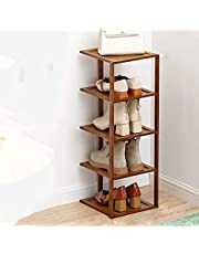 5 Tiers Shoe Rack,Bamboo Shoe Tower Holds 5 Pair of Shoes,Narrow Shoe Container for Small Home,Shoe Shelf for Entryway