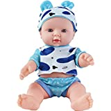 """HiPlay 12"""" Soft Body Baby Doll -Realistic Silicone Vinyl Body with Cute Outfit, Newborn Baby Dolls for Kids, Toddlers (A)"""