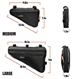 Ibera Bicycle Triangle Frame Bag, Strap-On Bike Top Tube Pouch, Cycling Essential Saddle Frame Bag with Reflective Trim, Crossbar Bike Pack MTB, Road Bikes