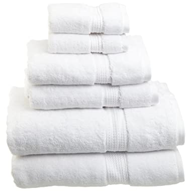 Superior 900 Gram 100% Premium Long-Staple Combed Cotton 6-Piece Towel Set, White