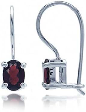 1.9ct. Natural January Birthstone Garnet 925 Sterling Silver Hook Closure Earrings