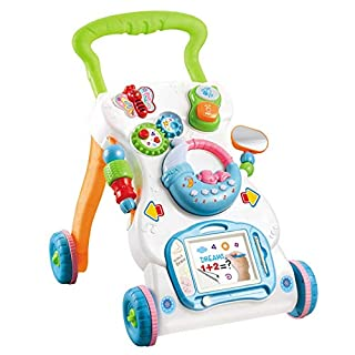 Baby Walker Detachable Game Panel Baby Walker Activity Center With Music Light Mini Mobile Sketchpad Sit-to-Stand Learning Walker Push Carts Toddler Toys Car For Boys And Girls Baby Walkers And Activi