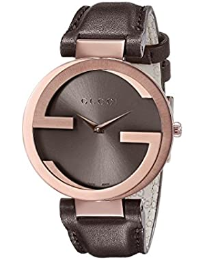 Interlocking Brown Strap Women's Watch(Model:YA133309)