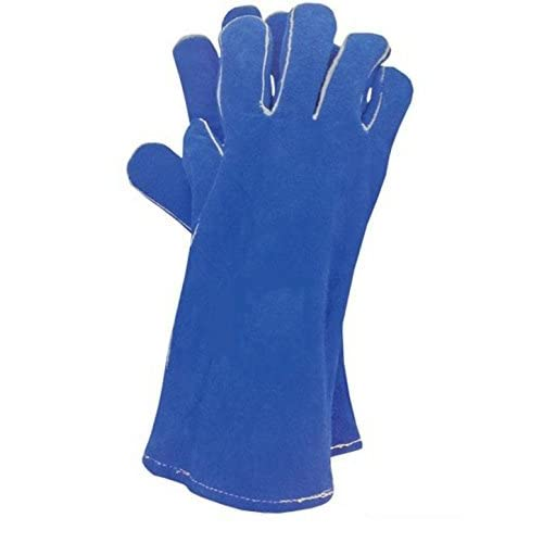 WOOD BURNING STOVE/WELDING GLOVES - BLUE- 100% GENUINE LEATHER BBQ STOVE ACCESSORIES Welders Gauntlet