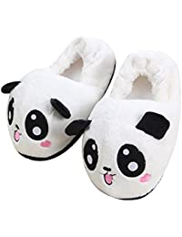 Novelty Lovable Panda Household Soft Plush Antiskid Indoor Home Slippers, Size 4.5 to Size 8