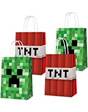16 PCS Party Favor Bags for Pixels Miner Birthday Party Supplies, Party Gift Goody Treat Candy Bags for Pixels Miner Party Favors Decor Birthday Party Decor