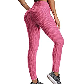 Meakeo Textured Booty Scrunch Yoga Pants Women High Waisted Ruched Butt Lift Tummy Control Stretchy Gym Leggings (Pink, X-Large)