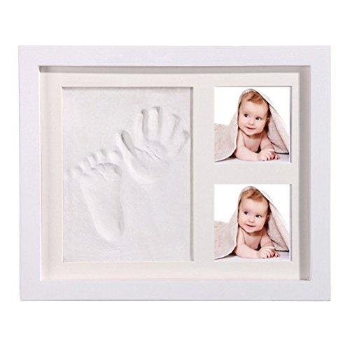 StillCool DIY bebe Handprint y Marco de huella Inkpad de fotos Regalos Babyparty seguros y elegantes Elegante blanco de madera solida para recien nacidos/bebe Regalos