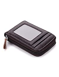 imeetu Credit Card Holders, Genuine Leather Case Organizer with Zip-Around Security Wallet (Coffee)
