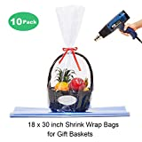 LazyMe Clear Basket Cellophane Bags Shrink Wrap Bags Cello Bags for Gift Basket, 18x30 inch, 10 Pack