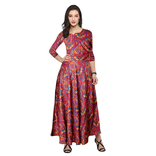 ONE RELIGIOUS ST Womens Ruffle Gowns Dress Work Office Business Casual Party A-Line Midi Dress Ethnic wear