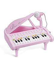 ASTOTSELL Baby Piano Toetsenbord Speelgoed, Roze 24 Toetsen Kids Piano Muziekinstrumenten met Microfoon voor Meisjes Verjaardagscadeau Speelgoed