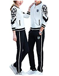 Ubasics Men's Breathable PullOnStyle Mid Rise Zip Closure Tracksuits White 46