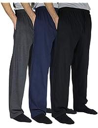 3 Pack:Men's 100% Cotton Comfy Jersey Knit Pajama Pants/Lounge Pants S-3XL