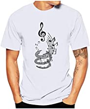 HDGTSA Men Casual Funny T-Shirt Musical Note Print Blouse O-Neck Short Sleeve Tees Tops
