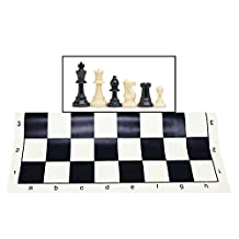 Kimaro Heavy Tournament Triple Weighted Best Value Tournament Chess Set - Filled Chess Pieces and Black Roll-Up Vinyl Chess Board