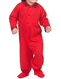Tom & Jerry Baby Boys Solid Red Footed Button-Up Jumpsuit Plaid Trim (NB - 24m)