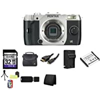 Pentax Q7 Compact Mirrorless Camera Body (Silver) 32GB Bundle 3