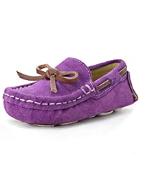 LONSOEN Kid Toddler Boys Girls Bow Suede Molly Slipper Moc Moccasins Flat Shoes