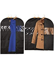 Garment Bags for Dresses, Black Suit Covers for Men with Zipper, Window (2 Sizes, 6 Pack)