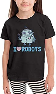 Vounsainie Boy's&Girl's Funny I Love Robots Round Neck Short S