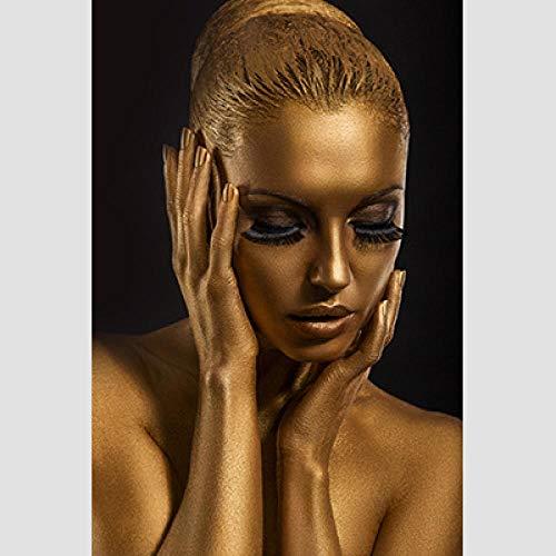Laminas para Cuadros Oro Negro Half Beauties Mujeres africanas Modelo de Pintura Decorativa Luz Sofa Fondo Arte de la Pared Lienzo Decoracion para el hogar 70X100cm sin Marco