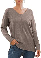Jouica Women's Casual Lightweight V Neck Batwing Sleeve Knit Top Loose Pullover Sweater