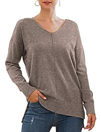 Women's Casual Lightweight V Neck Batwing Sleeve Knit Top Loose Pullover Sweater