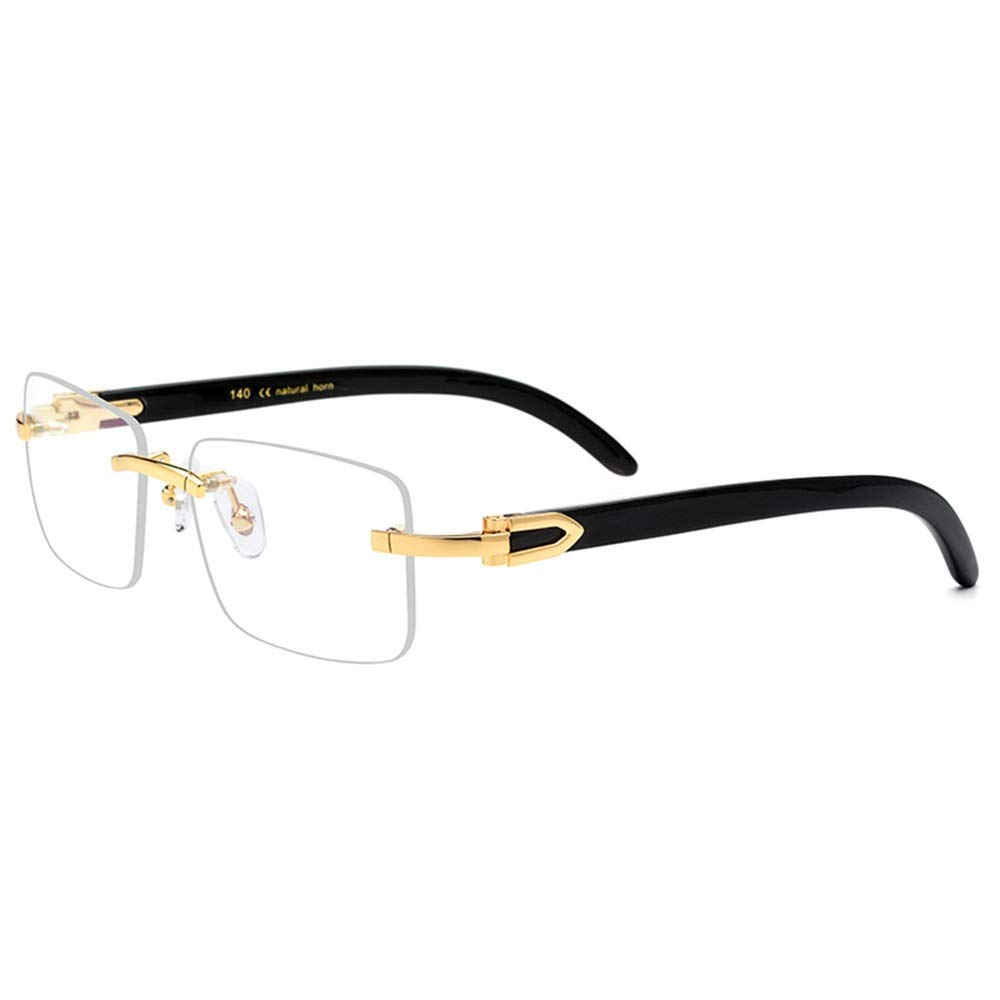gold black Kirabon Square Business Clear Lens Glasses with Clear Lens and Pure Natural Black Horn Glasses Leg (color   gold Black)
